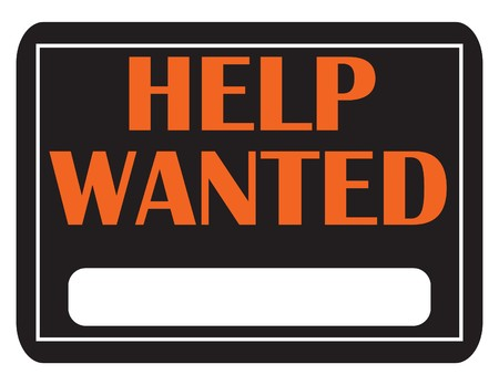 help: A black and orange help wanted sign with copy space Stock Photo