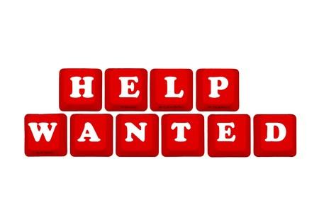 help: Computer keyboard keys displaying now hiring, Help Wanted Stock Photo