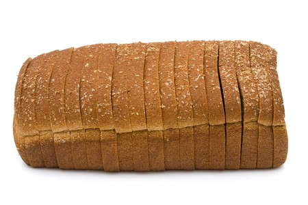 bread slice: A loaf of whole wheat bread isolated on a white background, loaf of bread Stock Photo