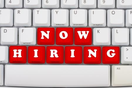 Computer keyboard keys displaying now hiring, Now hiring photo