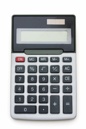 compute: A grey calculator isolated on a white background, calculator
