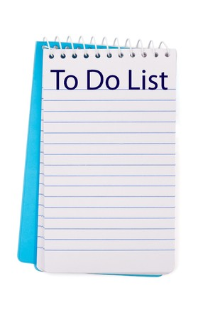 notebook: A pad of paper isolated on white, to do list Stock Photo
