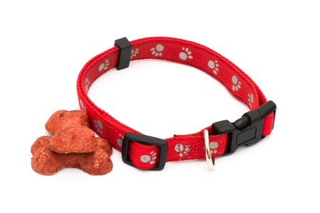 A red dog collar isolated on a white background, dog collar Stock Photo - 7590422