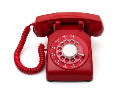 receiver: A red retro telephone isolated on white, Call for help Stock Photo