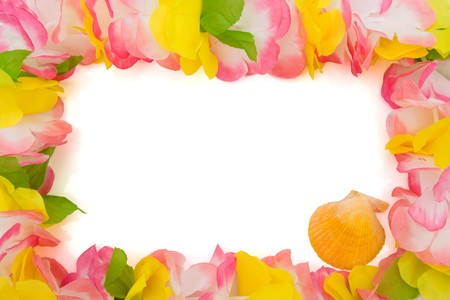 Colorful lei with seashell isolated on white, happy holidays photo