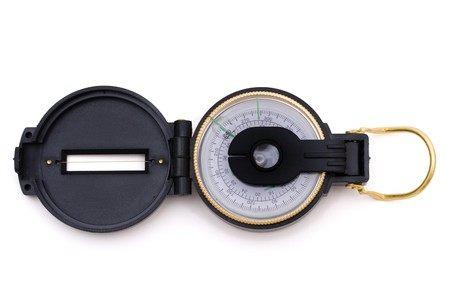 finding your way: A compass isolated on a white background, Finding your way Stock Photo