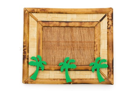 A wooden picture frame isolated on a white background, frame for vacation photo