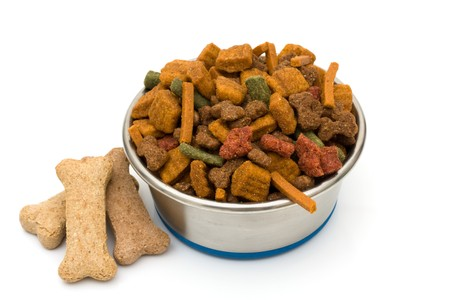 dog biscuit: A bowl of dog food isolated on a white background, feed your dog good food