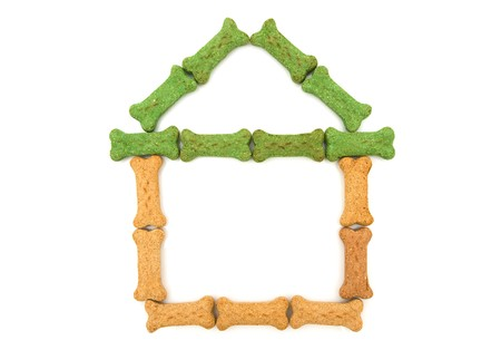 Dog treats in the shape of a house isolated on a white background, doghouse Stock Photo - 7593073