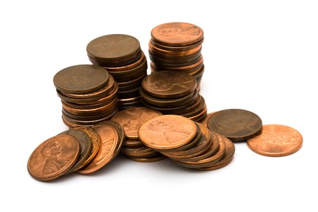 penny: A lot of pennies isolated on a white background