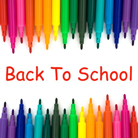 Colorful markers on a white background, Back to school Stock Photo