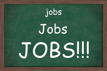 A blank green chalkboard with the words jobs written on it, Jobs needed Stock Photo - 7593087