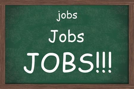 employment elementary school: A blank green chalkboard with the words jobs written on it, Jobs needed