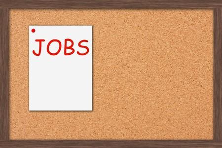 job posting: A cork bulletin board with job postings and a wooden frame, Job Postings