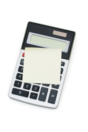 A calculator with a sticky note isolated on a white background, calculator Stock Photo - 7625450