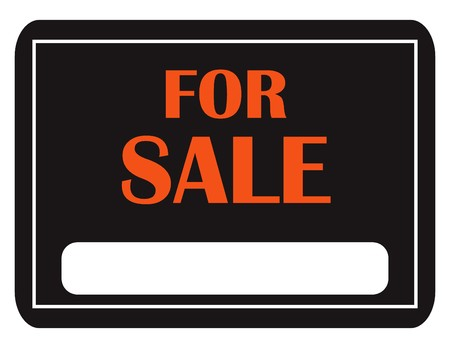 A black and orange for sale sign isolated on white Stock Photo - 7633218