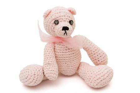 Handmade cute teddy bear isolated on a white background Stok Fotoğraf - 7662088