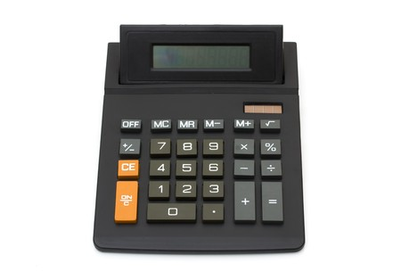 A black calculator isolated on a white background Stock Photo - 7662085