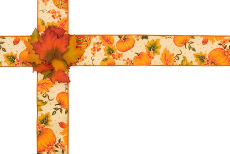 Fall ribbon with pumpkins isolated on white, autumn border photo