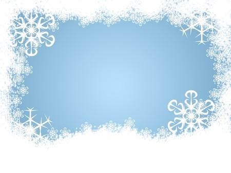 Snow and snowflakes making a holiday winter border