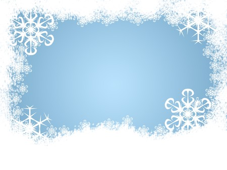 Snow and snowflakes making a holiday winter border photo