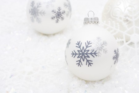 grey: Christmas ornaments in the snow, Merry Christmas