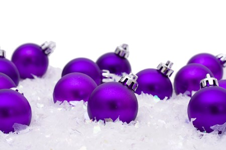 decoration: Christmas ornaments in the snow, Merry Christmas