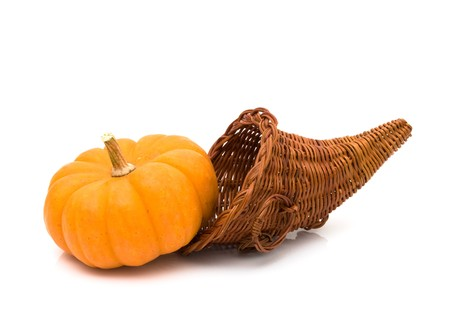 large pumpkin: Large pumpkin with a Cornucopia isolated on white, Autumn