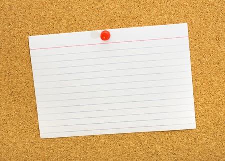 A blank white index card on a corkboard, Communication Note Stok Fotoğraf - 7988437