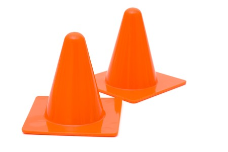 Two traffic cones isolated on a white background photo