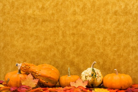 Fall leaves with pumpkins and gourds on a brown background, Fall Scene photo