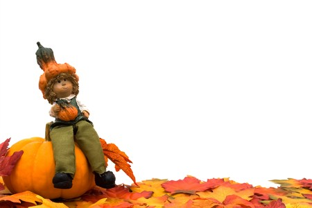 Fall leaves with a pumpkin and a scarecrow isolated on a white background, Fall Scene photo