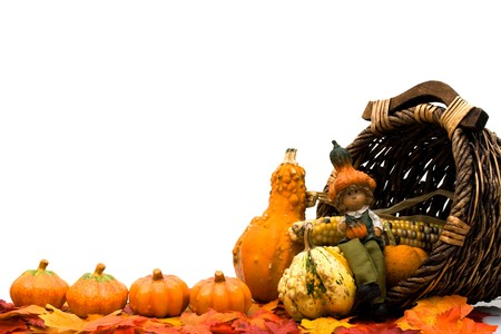 gourds: Fall leaves with a pumpkins, gourds and a basket isolated on a white background, Fall Scene