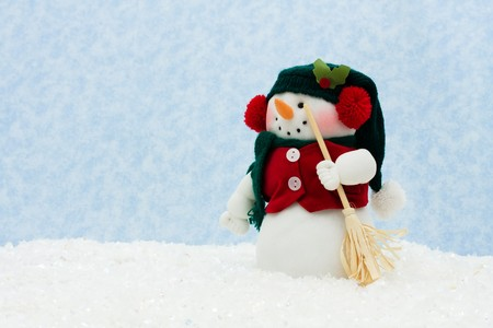 Snowman with a broom on snow, Winter Scene  photo