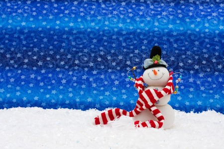 Snowman with a broom on snow, Winter Scene Stock Photo - 8110947