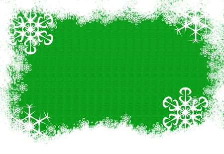 Snow and snowflakes making a border on a green background, snowflake border Archivio Fotografico
