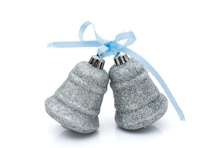 Two silver bells isolated on a white background, Christmas Time Stock Photo - 8199410