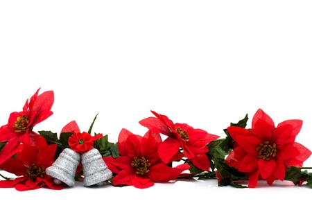 Poinsettia border on a white background with silver bells, Christmas Time