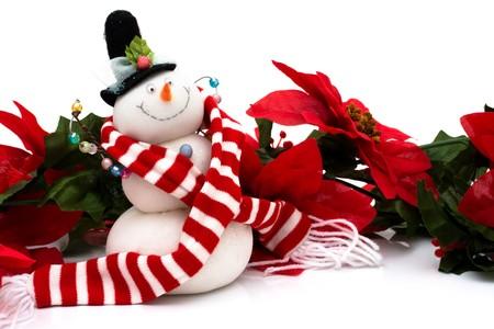 Poinsettia border with a snowman on a white background, Christmas Time photo