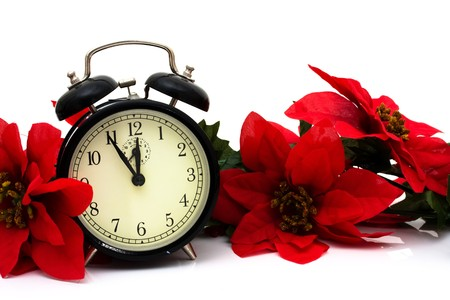 Poinsettia border with a clock on a white background, Christmas Time