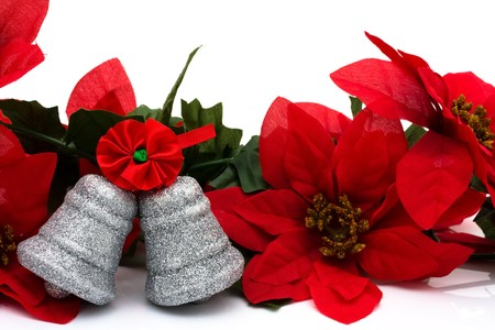 silver bells: Poinsettia border on a white background with silver bells, Christmas Time