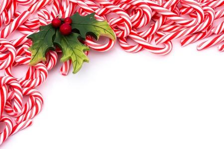 Mini snoep stokken maken van een rand op een witte achtergrond, candy cane