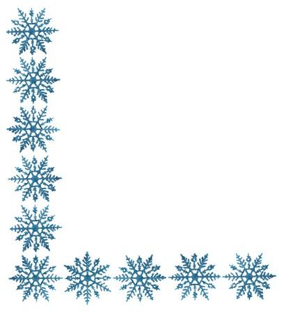 winter: Snowflake border with white background, winter time Stock Photo
