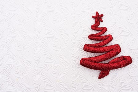 A red glitter christmas tree on a white background, Christmas tree Stock Photo