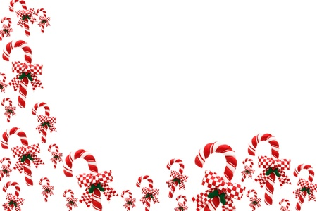 december: A candy cane border on a white background, candy cane border