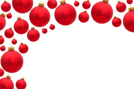 red christmas balls making a border with white background christmas border stock photo 8249715