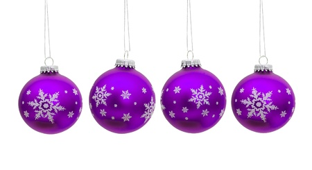 Purple christmas balls hanging isolated on a  white background, christmas time Archivio Fotografico