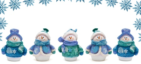 Snowflake border with snowmen and a white background, Winter Time