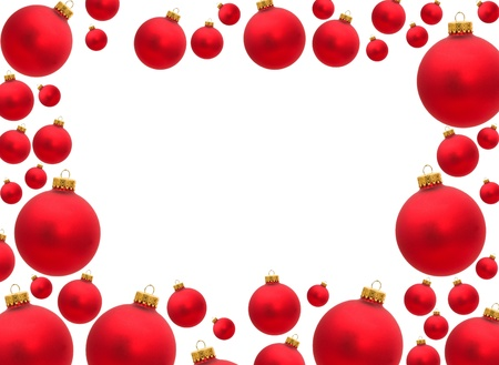 Red christmas balls making a border with white background, christmas border photo