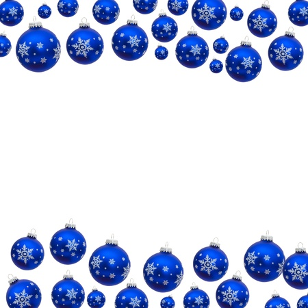 holidays: Blue christmas balls making a border with white background, christmas border Stock Photo